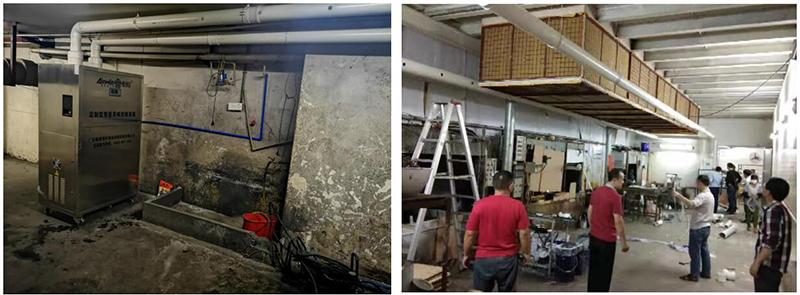 佛山饲料厂污水工业除臭,4台除臭系统不间断运作中和异味。
