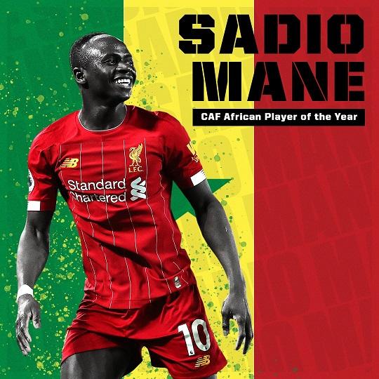 利物浦前锋马内当选2019年度非洲足球先生